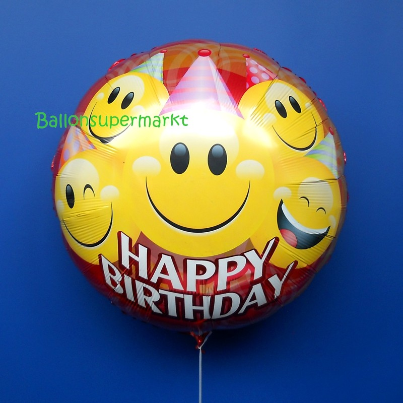 Happy Birthday Smileys groer Folienballon Rundballon