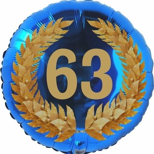Luftballon aus Folie 63 Geburtstag Lorbeerkranz Zahl 63