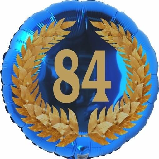 Luftballon aus Folie 84 Geburtstag Lorbeerkranz Zahl 84