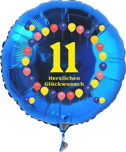 Folienballon 11 Geburtstag Balloons Blau Folienballon