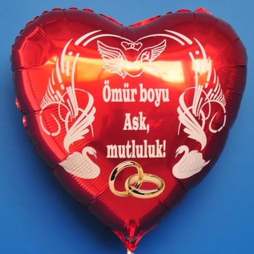Roter Herzluftballon zur Hochzeit Hochzeitsringe mr boyu Ask mutluluk Ohne Helium