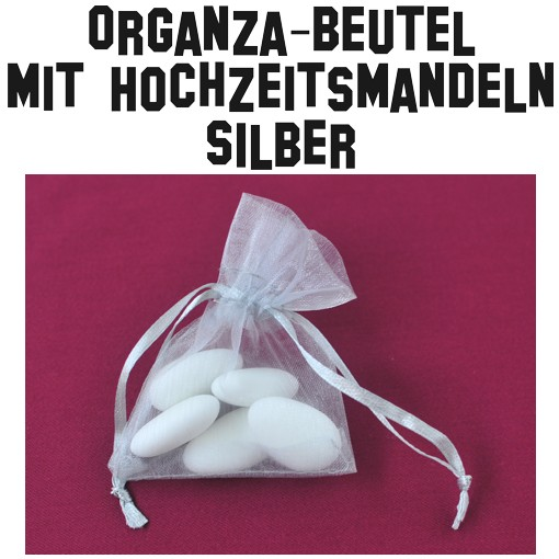BallonsupermarktOnlineshopde  Hochzeitsmandeln OrganzaBeutel Silber  Silberne Hochzeit