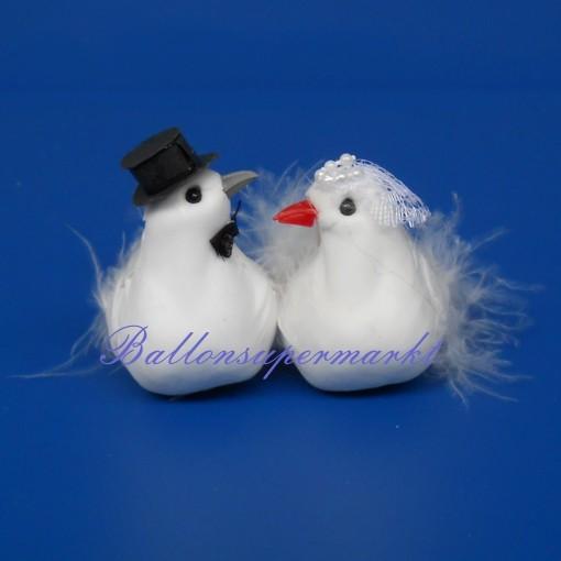 TaubenBrautpaar HochzeitTischdeko
