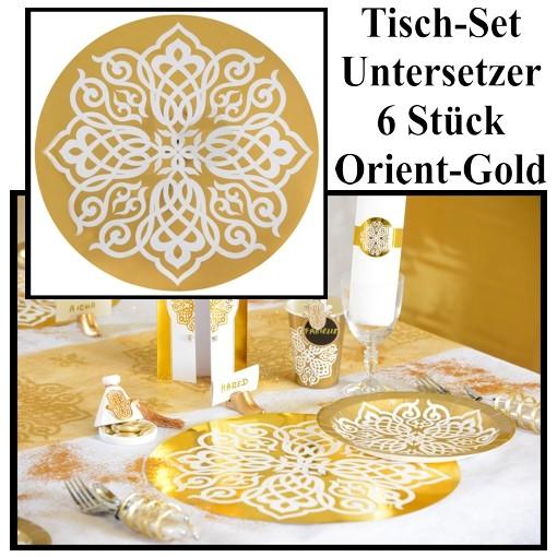 BallonsupermarktOnlineshopde  DekoTischuntersetzer Tischdeko Orientalisch Gold 1001 Nacht 6 Stck  Goldene Hochzeit  Hochzeit