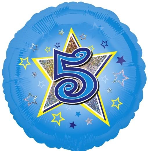 Folienballon 5 Geburtstag Blau Junge Folienballon mit Helium