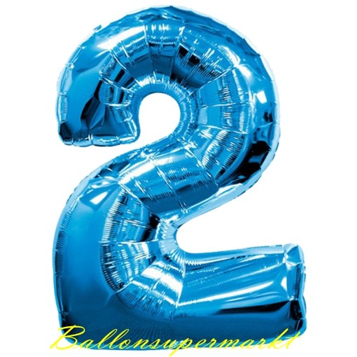 ZahlenLuftballon aus Folie 2 Zwei Blau 100 cm gro