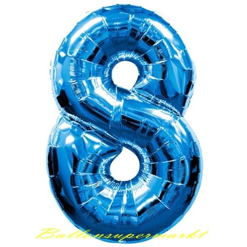 ZahlenLuftballon aus Folie 8 Acht Blau 100 cm gro  Luftballons aus Folie groe Zahlen