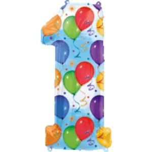Folienballons Zahl 1 Balloons Folienballon mit Helium