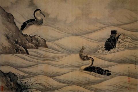Yūhi_Cormorants_catching_Fish