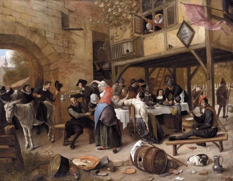 Jan_Steen_-_Feast_of_the_Chamber_of_Rhetoricians_near_a_Town-Gate_-_WGA21727