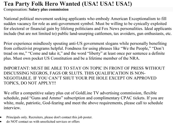 Tea Party Folk Hero Wanted
