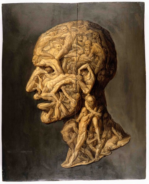 V0017125 Head of a man, composed of nude figures. Oil painting.