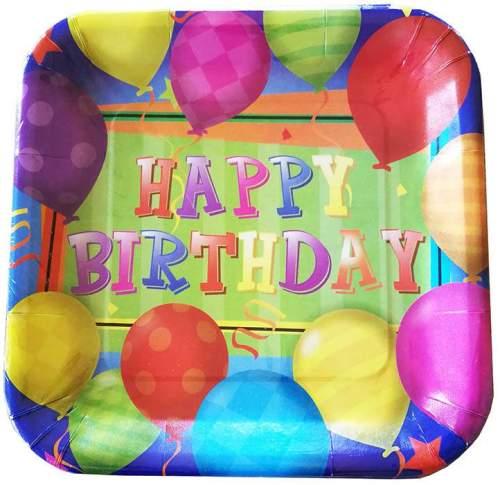 Πιάτα πάρτυ τετράγωνα με μπαλόνια (8 τεμ)
