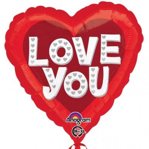 Μπαλόνι αγάπης Καρδιά 'Love You' με ασημί καρδούλες
