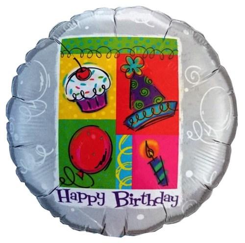 Μπαλόνι για γενέθλια Ασημί 'Happy Birthday'