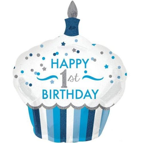 Μπαλόνι για γενέθλια Cup Cake 'Happy 1st Birthday' αγοράκι