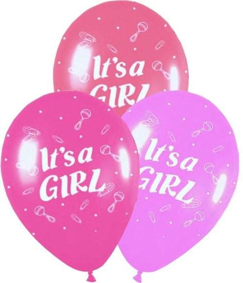 Μπαλόνι τυπωμένο 'Its a girl' κουδουνίστρα