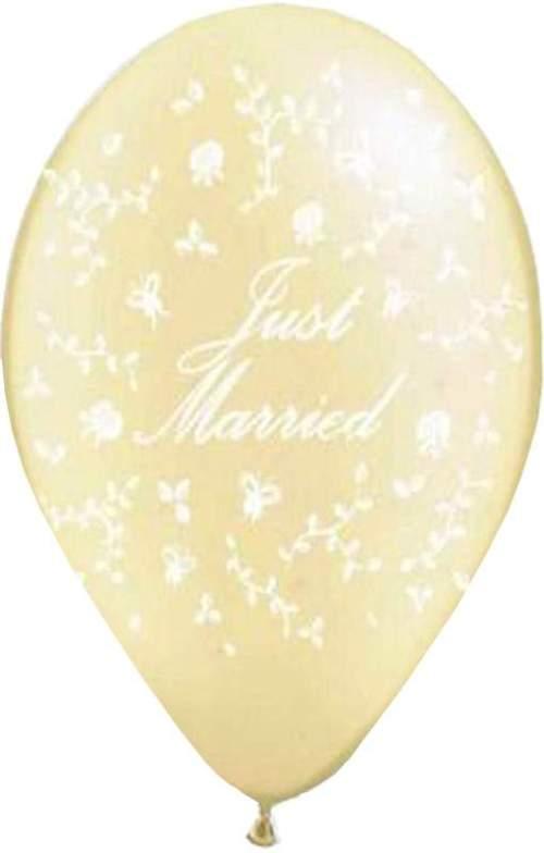 Μπαλόνι τυπωμένο γάμου ιβουάρ Just Married