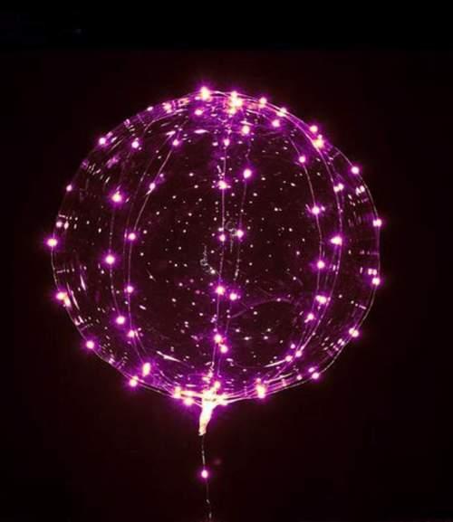 Διάφανο μπαλόνι φωτιζόμενο με ροζ LED