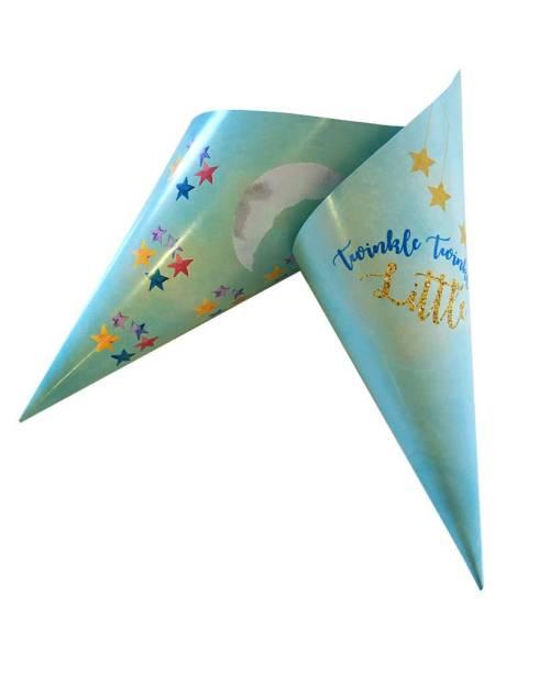 Xάρτινα χωνάκια ζαχαρωτών γαλάζιο Baby Shower (20 τεμ)