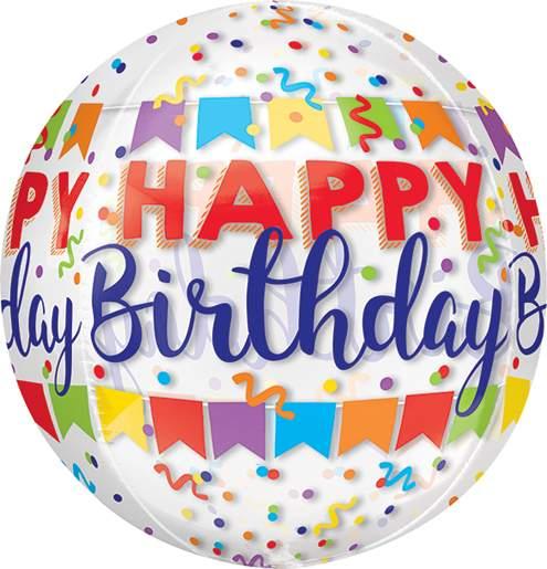 Μπαλόνι γενεθλίων Διάφανο Happy Birthday ORBZ