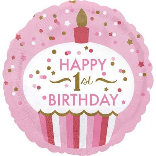 Μπαλόνι για γενέθλια 1st Birthday Girl Cupcake που ιριδίζει