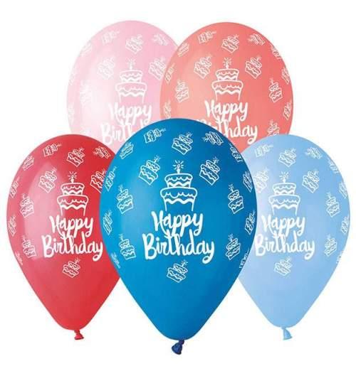 Μπαλόνι τυπωμένο για γενέθλια σε 5 χρώματα 'Happy Birthday' cake