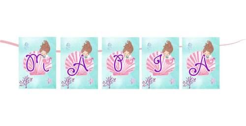 Σημαιάκια ορθογώνια με όνομα Happy Mermaid