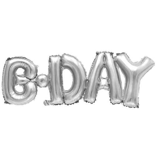 Μπαλόνι γενεθλίων 'Bday' Ασημί εννωμένη φράση