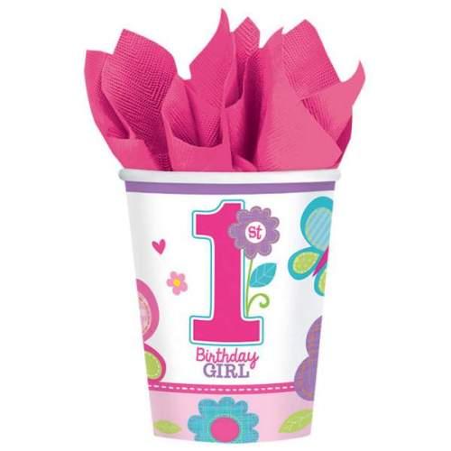 Ποτήρια πάρτυ χάρτινα '1st birthday girl' (8 τεμ)