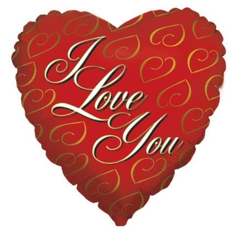 Μπαλόνι αγάπης Καρδιά 'I Love You' χρυσές καρδιές