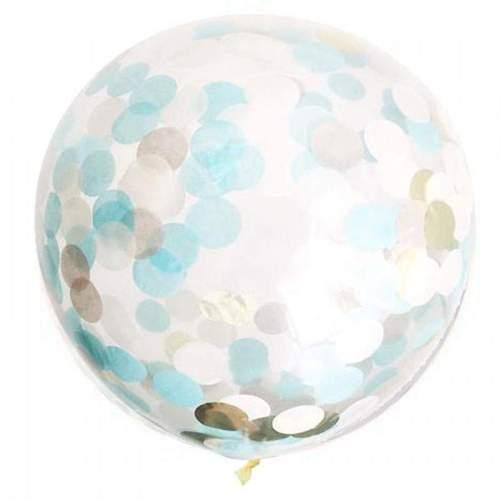 Διάφανο μεγάλο μπαλόνι γεμισμένο με μπλε & χρυσό κονφετί