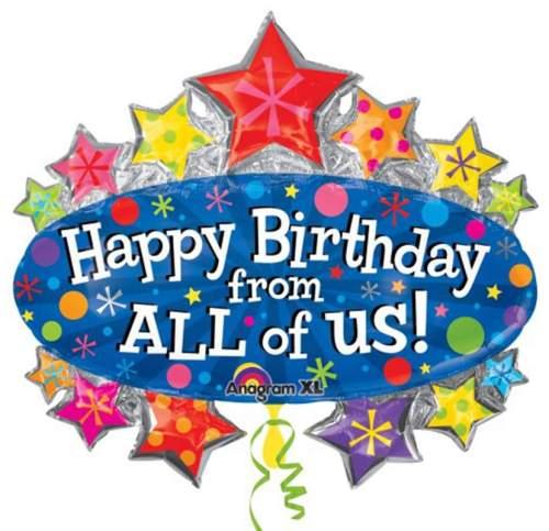 Μπαλόνι γενεθλίων 'Happy Birthday from all of us' αστέρια