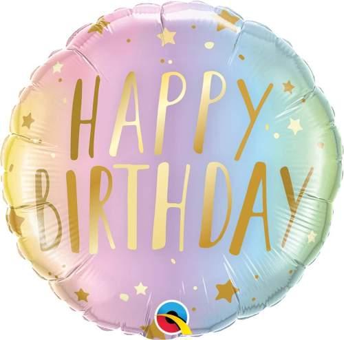 Μπαλόνι γενεθλίων Happy Birthday παστέλ ombre με αστέρια