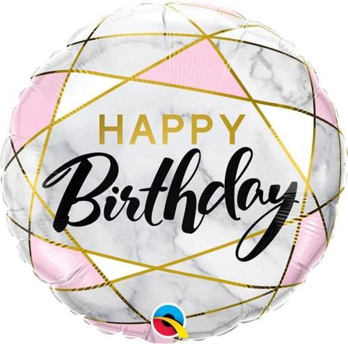Μπαλόνι γενεθλίων Happy Birthday marble & ορθογώνια