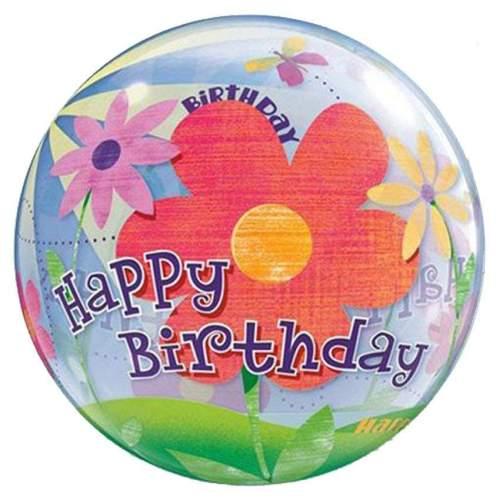"""Μπαλόνι """"Happy Birthday"""" με λουλούδια bubble"""