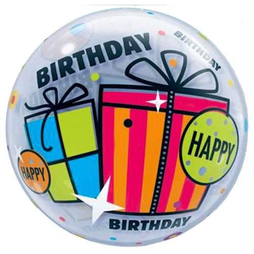 """Μπαλόνι """"Happy Birthday"""" με δώρα bubble"""