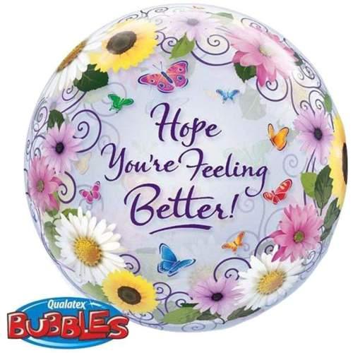 """Μπαλόνι """"Hope you are feeling better"""" με λουλούδια bubble"""