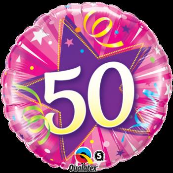 50th Birthday Shining Star Hot Pink Balloon by post