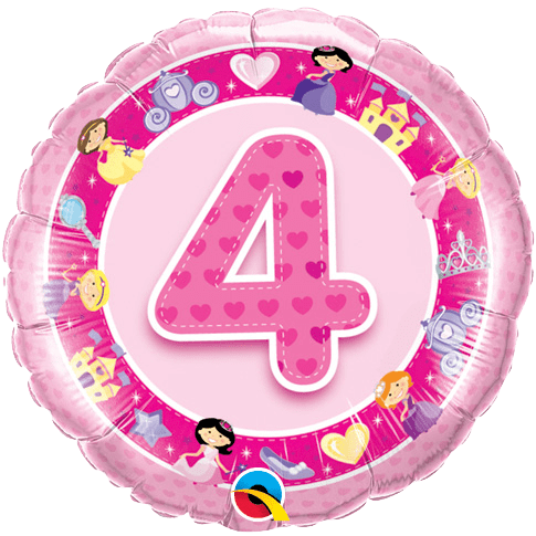 Start With This 4th Birthday Pink Princess Foil Balloon Add Additional Balloons In Co Ordinating Colours And Designs To Create Your Own Unique