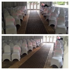 Baby Blue Spandex Chair Covers Diy Wingback And Sashes