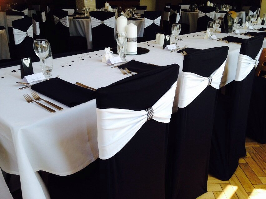 lycra chair covers for sale swivel baby sashes white bands with bling wraps and black lyrca at cromwell manor