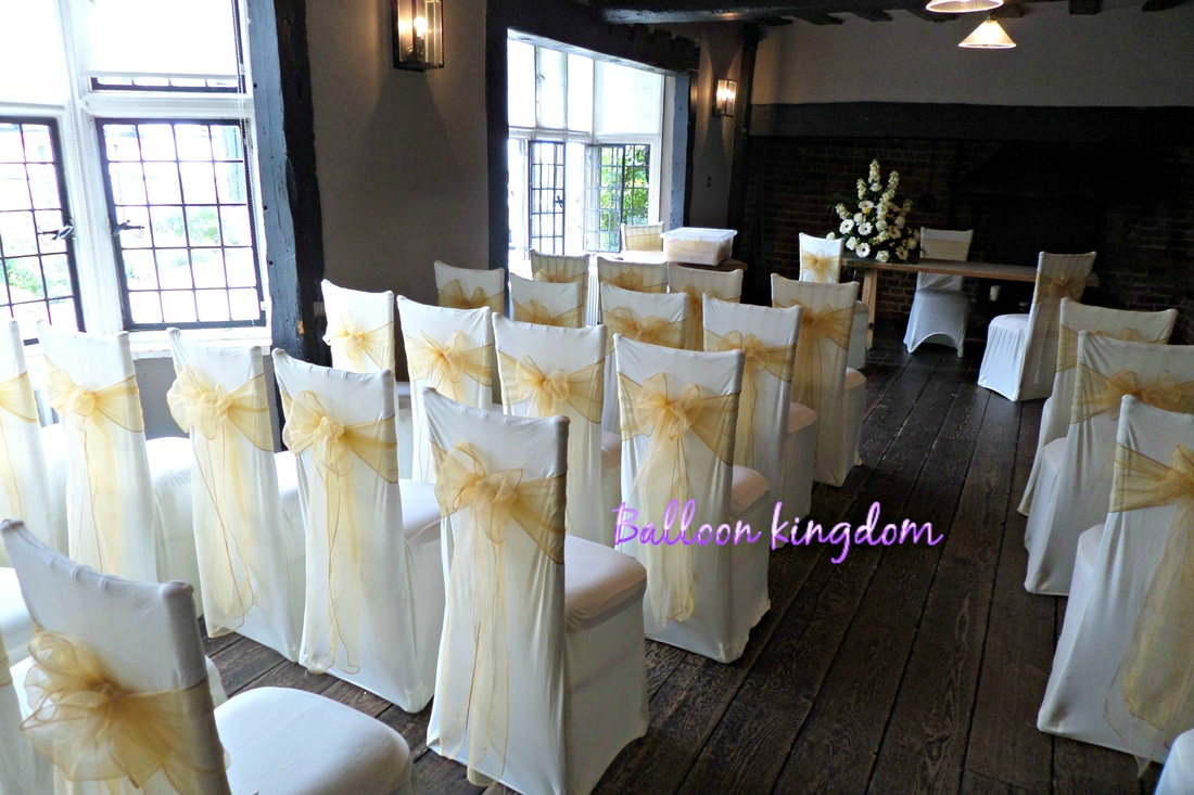 diy organza chair covers white plastic chairs wedding cover hire in west drayton hayes hounslow balloon and ivory stretch with gold sash from 1 25 2 50 fitted