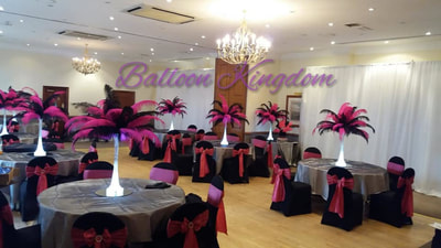 Ostrich feather centerpiece hire  BALLOON AND PARTY KINGDOM