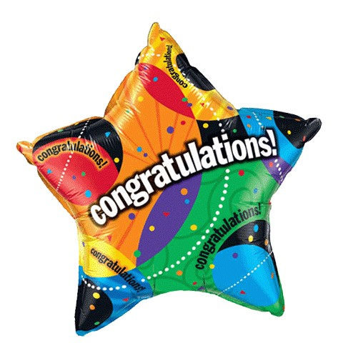 """Image of a rainbow-colored, star-shaped helium balloon that says """"Congratulations"""" across the center"""