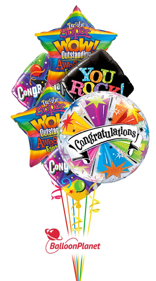 Congratulations Balloon Bouquet 6 Balloons  Balloon Delivery by BalloonPlanetcom