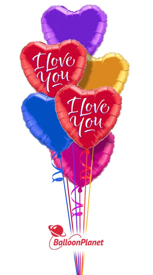 Colorful Hearts III I Love You Balloon Bouquet 7 Balloons