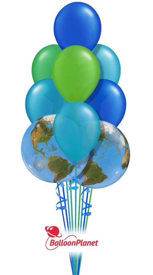 Earth Day Colors Balloon Bouquet 9 Balloons  Balloon