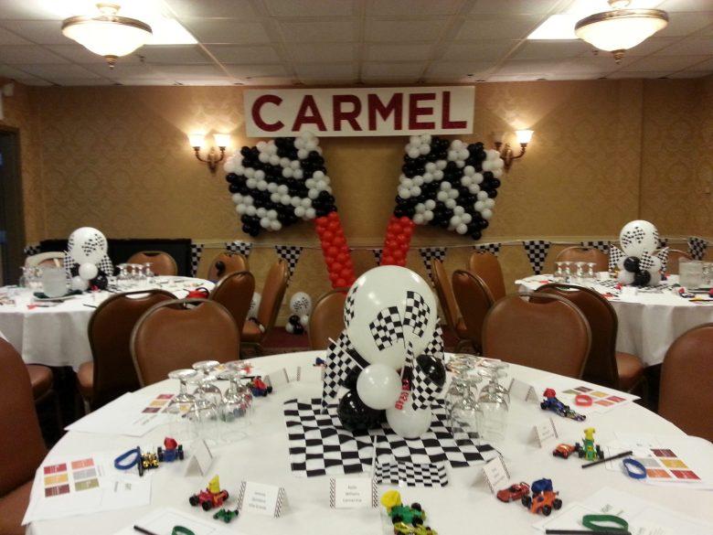 Racing Theme Balloon Centerpieces and Checkered Flag Balloon Scu - Balloons & Party Decorations