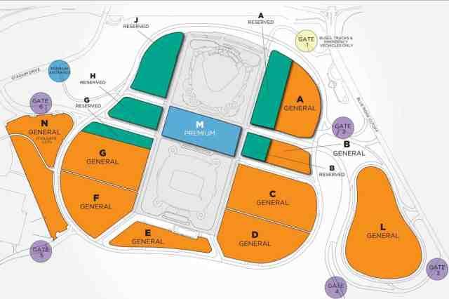 Parking Map at Kauffman Stadium